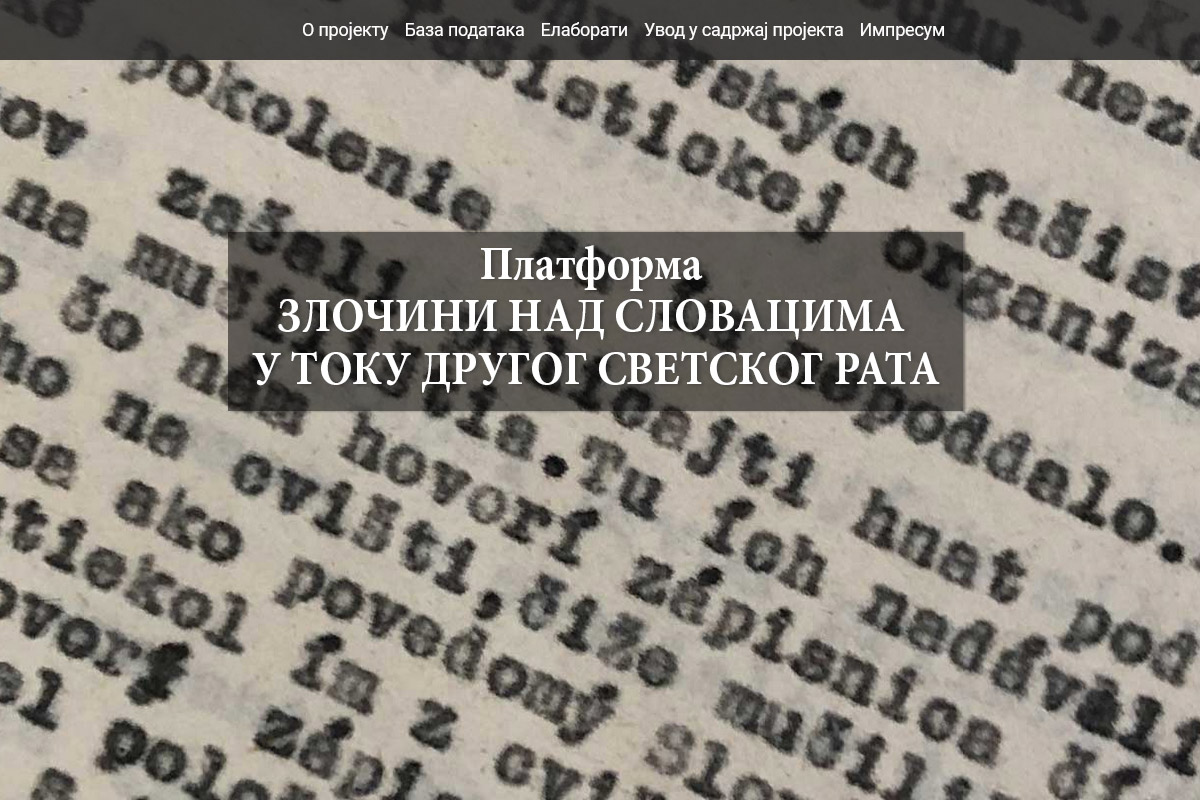 The CRIMES COMMITTED AGAINST THE SLOVAKS DURING THE SECOND WORLD WAR Platform